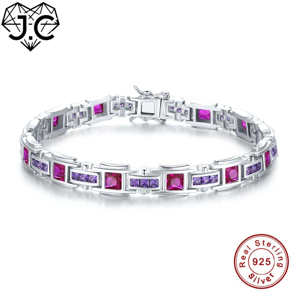J.C Women Girl Gorgeous Tourmaline & Sapphire & Ruby & Amethyst Topaz Fine Jewelry Solid 925 Sterling Silver Exquisite Bracelets