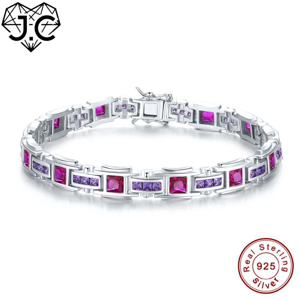 J.C Women Girl Gorgeous Tourmaline & Sapphire & Ruby & Amethyst Topaz Fine Jewelry Solid 925 Sterling Silver Exquisite Bracelets