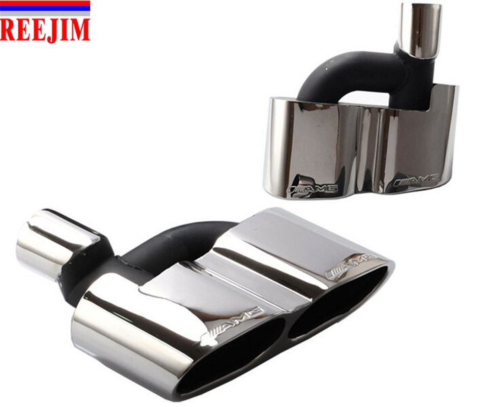 A Pair exhaust muffler pipe tip for Mercedes W221 S Class 08-13 change into S65 AMG Style car styling