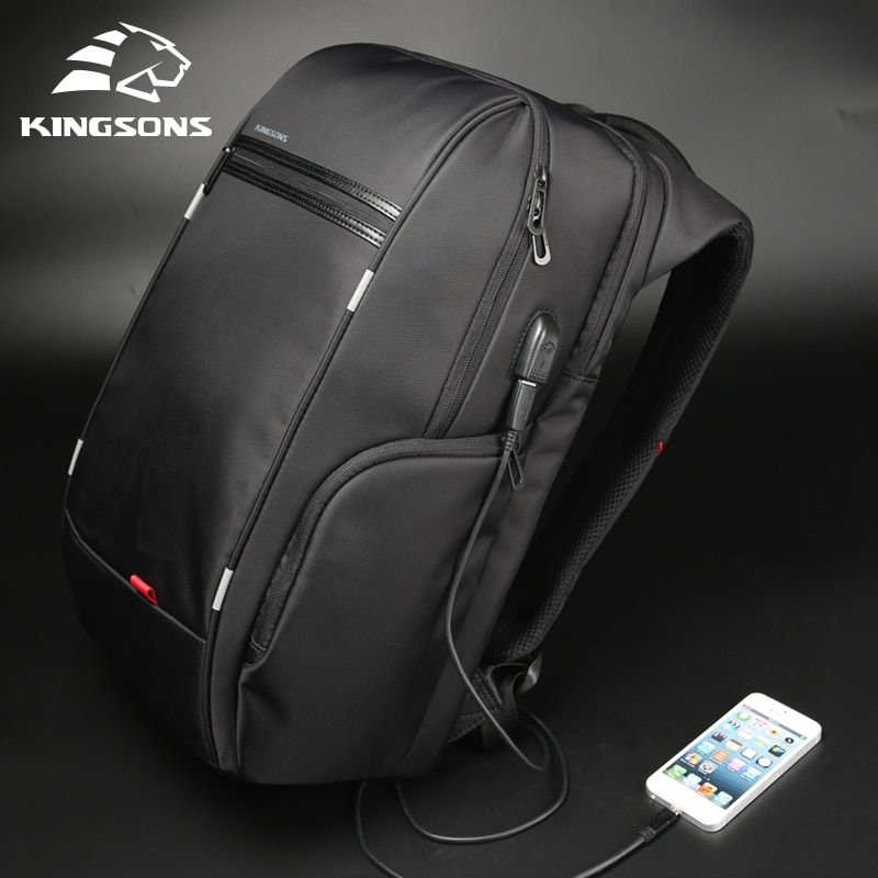 Kingsons Men Backpacks 13'' 15'' 17'' Laptop Backpack USB Charger Bag Anti-theft Backpack for Teenager Fashion Male <font><b>Travel</b></font>