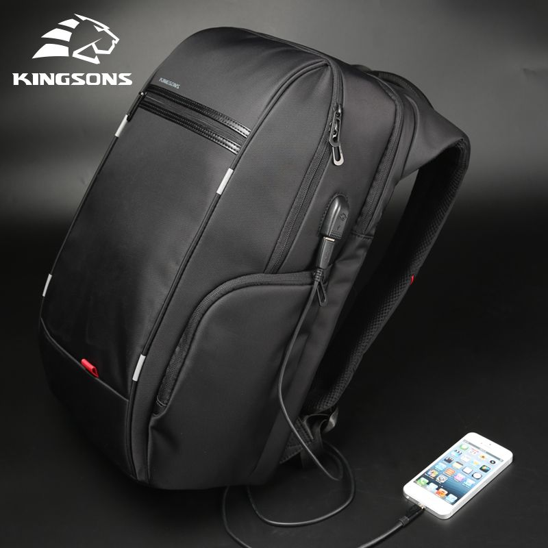 Kingsons Men Backpacks 13'' 15'' 17'' Laptop Backpack USB <font><b>Charger</b></font> Bag Anti-theft Backpack for Teenager Fashion Male Travel