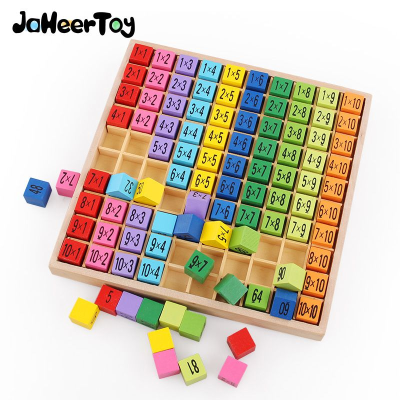 Montessori Educational <font><b>Wooden</b></font> Toys for Children Baby Toys 99 Multiplication Table Math Arithmetic Teaching Aids for Kids