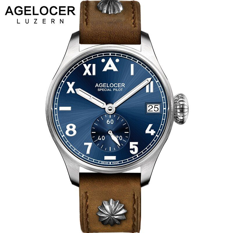 AGELCOER Designer Mens Dress Watch Automatic Mechanical Calendar Role Watches Male Leather Blue Black Dial Simple Wrist Watches