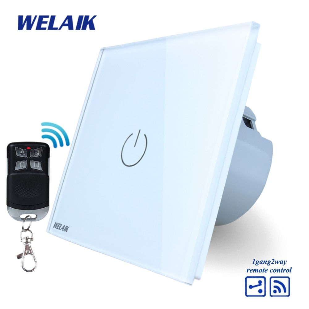 WELAIK Glass Panel Switch White Wall Switch EU remote control Touch Switch Screen Light Switch 1gang2way AC110~250V A1914W/BR01
