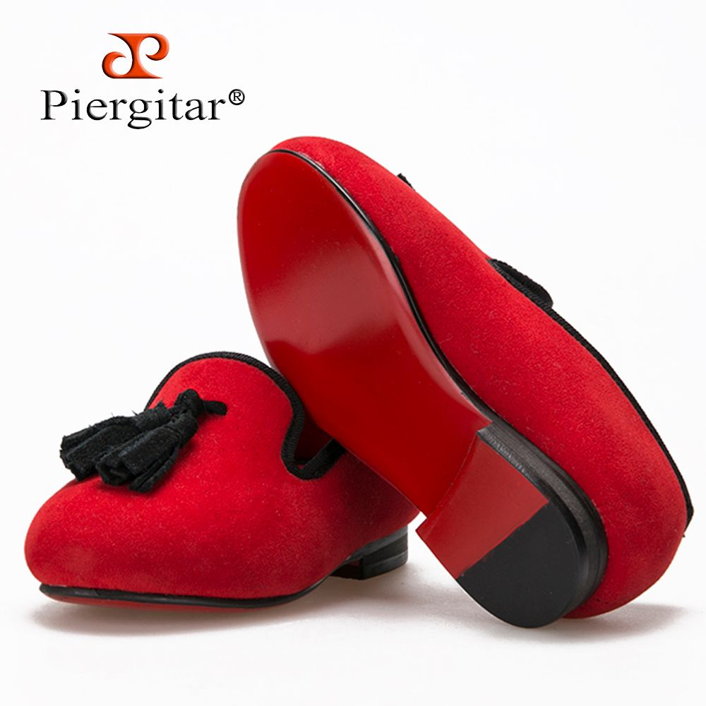 New style Parental Shoe same men loafers design child velvet tassel shoes handmade cotton comfortably insole child party loafers