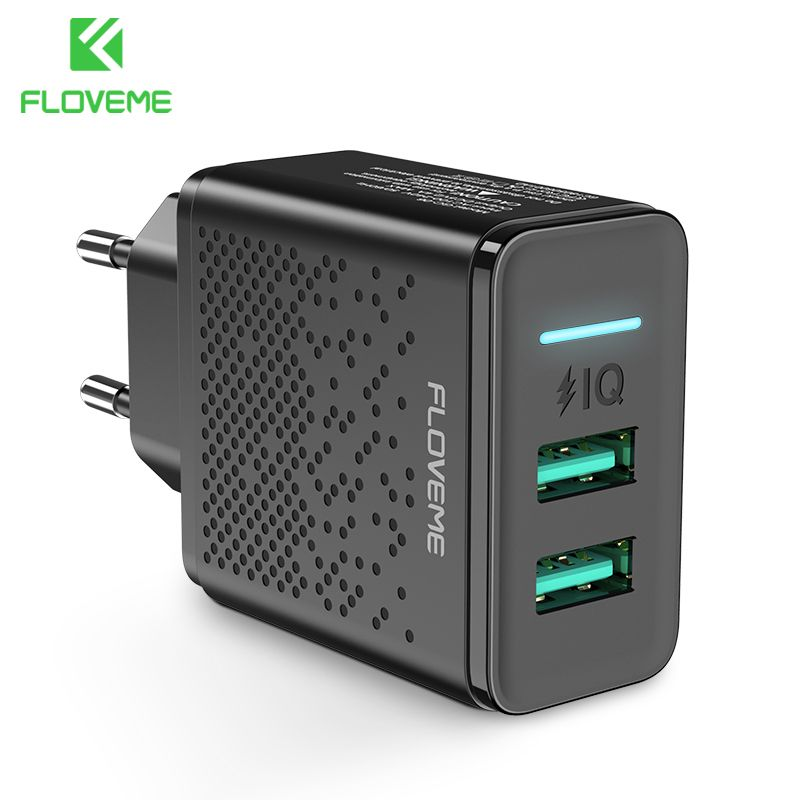 FLOVEME Dual USB Charger for iPhone X 7 8 iPad 5V 2.4A Fast Charging Wall Phone Charger for Xiaomi Huawei Mate 20 Pro EU Adapter