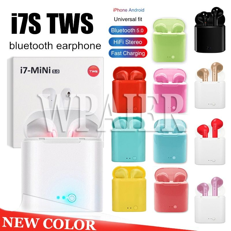 WPAIER I7S TWS Bluetooth Headphones Portable Wireless Earbuds With Charging Box mini bluetooth headsets Universal type earphones