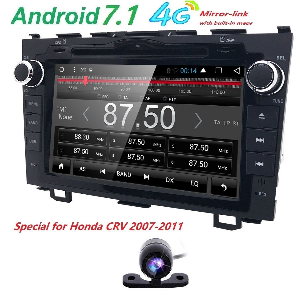 Android 7.1 HD 1024*600 Car DVD Player Radio For Honda CRV 2007-2011 4G WIFI GPS Navigation Head Unit 2din 1GRAM SWC DVR DAB+CAM