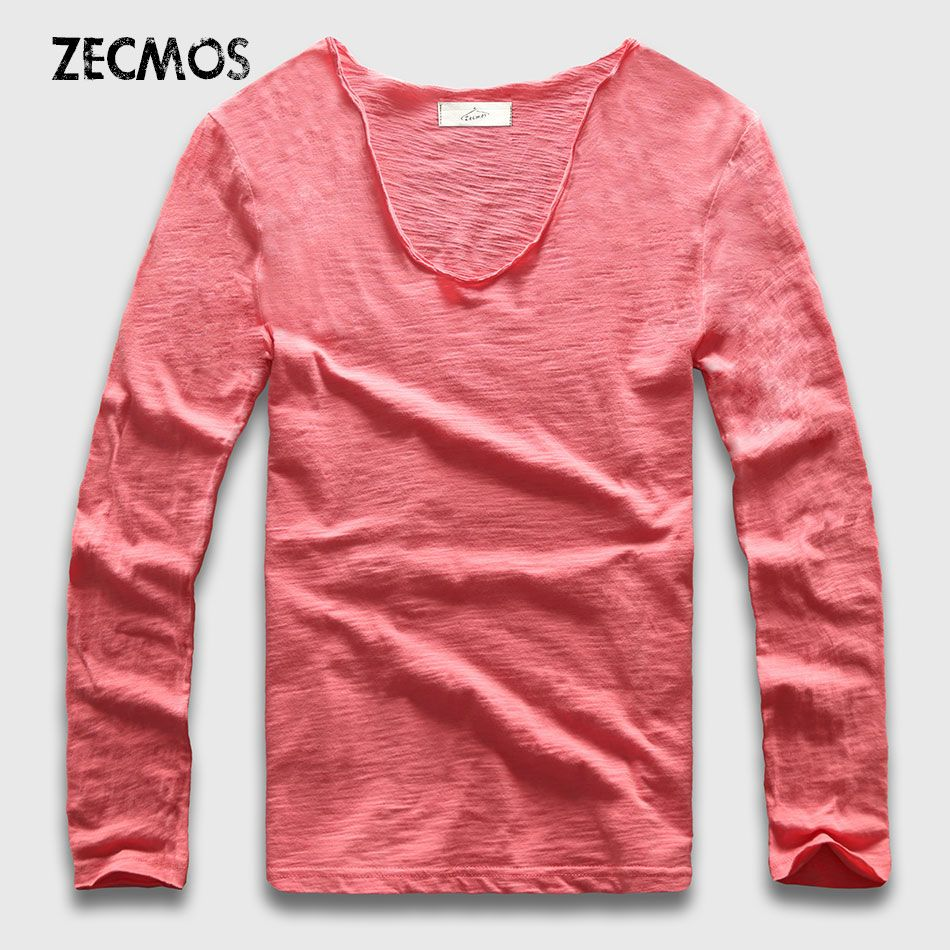 20 couleurs V Cou T-Shirt À Manches Longues Hommes T-Shirt En Coton Hommes Slim Fit top T-shirts décontracté Lâche