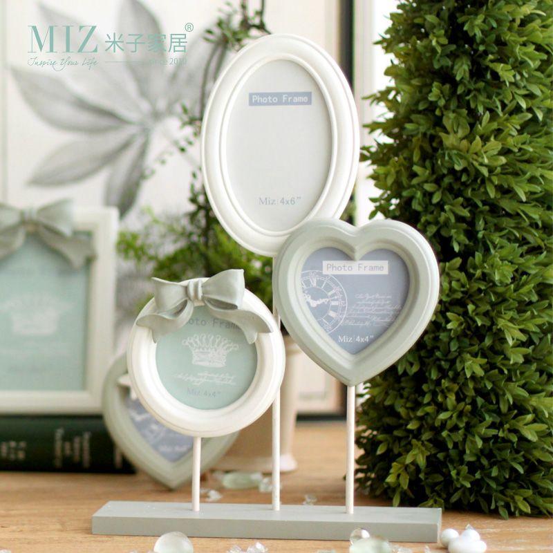 Livraison gratuite Miz Home Cinderalla seriescadre Photo blanc 1 ensemble 3 pièces 41.5*28 cm résine bois fait à la main nœud papillon cadre Photo
