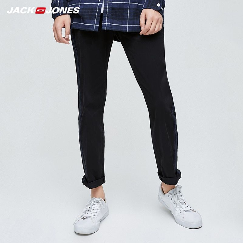 Jack Jones Brand 2018 NEW fashion all-match casual slight elastic solid color male trousers 217414505