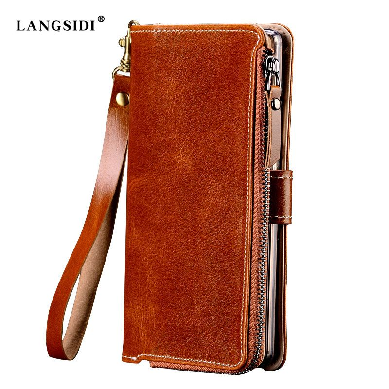 Factories Customize Multi-function Genuine Cowhide Leather Case For Samsung Galaxy J5 2017 J530 J5 Pro Flip Mobile Phone Bag