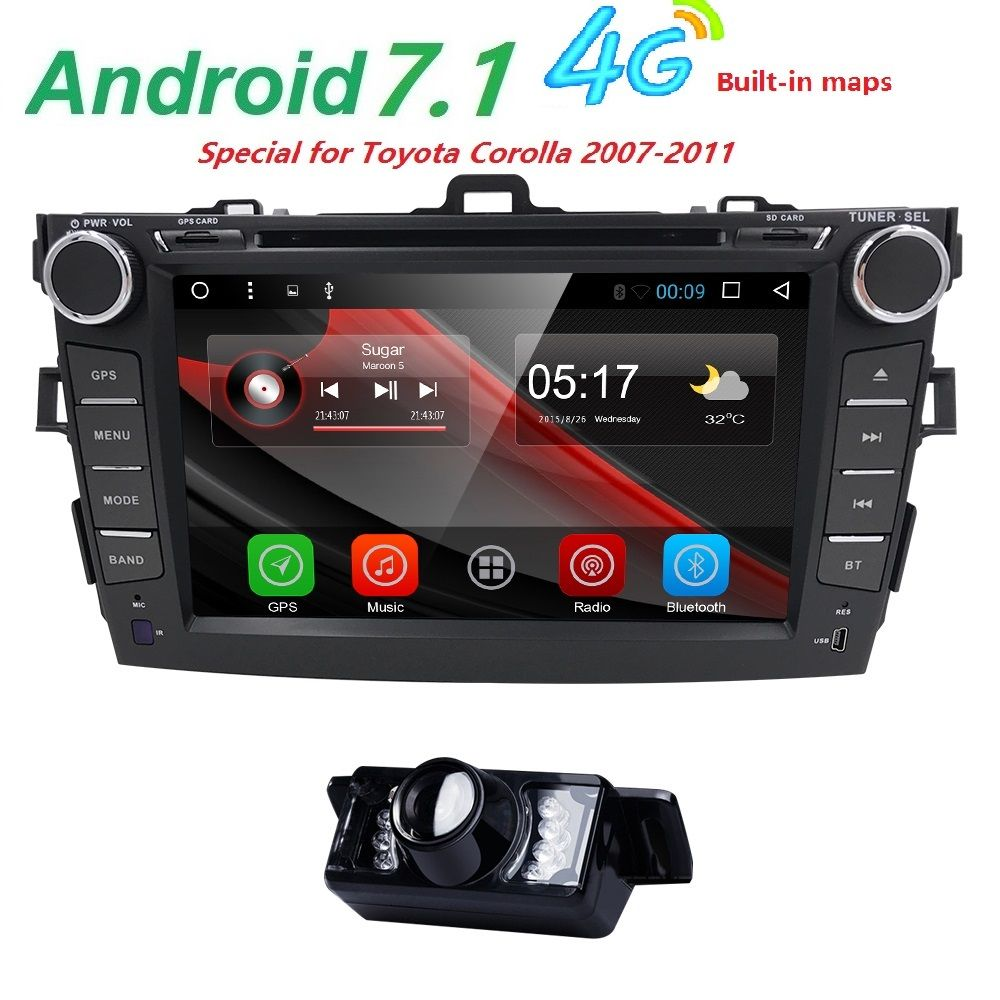 Autoradio 2 din Android 7.1 Car DVD Player For Toyota corolla 2008 2007 2009 2010 2011 Multimedia head unit gps navigation Wifi