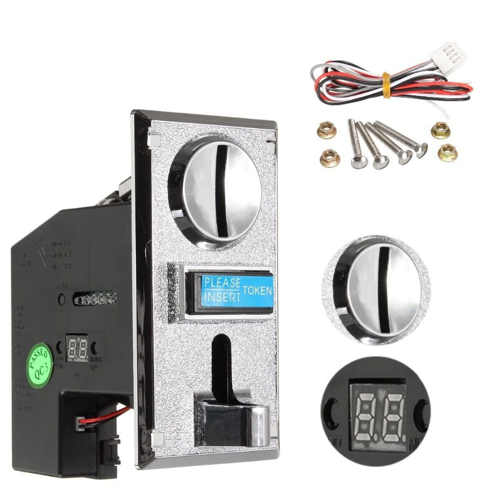 Multi Coin Acceptor Electronic Roll <font><b>Down</b></font> Coin Acceptor Selector Mechanism Vending Machine Mech Arcade Game Ticket Redemption