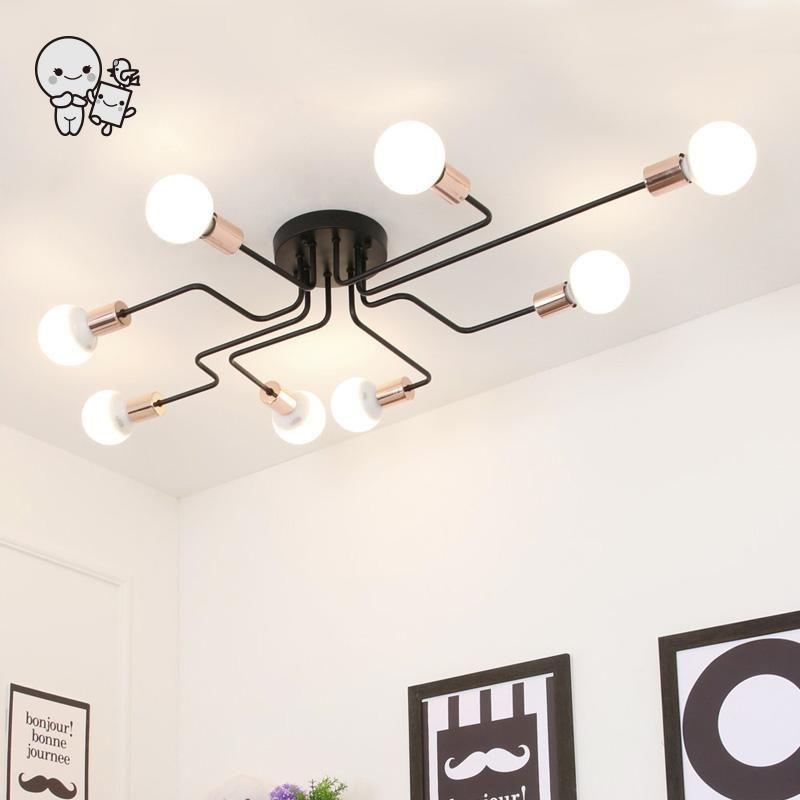 Big Black Iron Ceiling Light Fixture Modern Nordic Scandinavian Hanging Lamp Plafon Lustre for Foyer Living Room Bedroom E27 E26