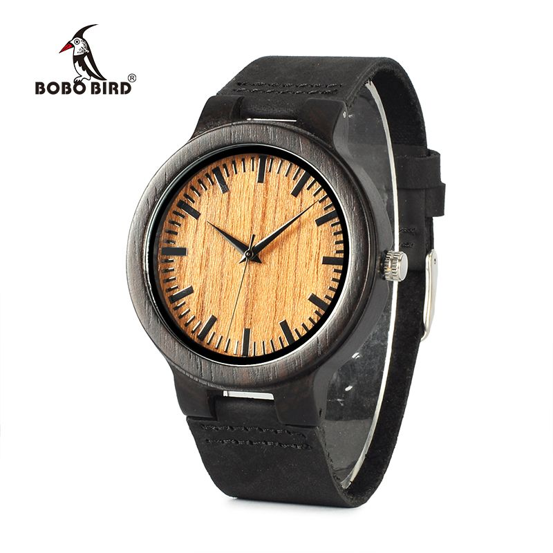 BOBO BIRD WC24 New Fashion 100% Natural Black Wood Watches Mens Luxury Vintage Watch For Men With Gift Box Accept OEM 2017