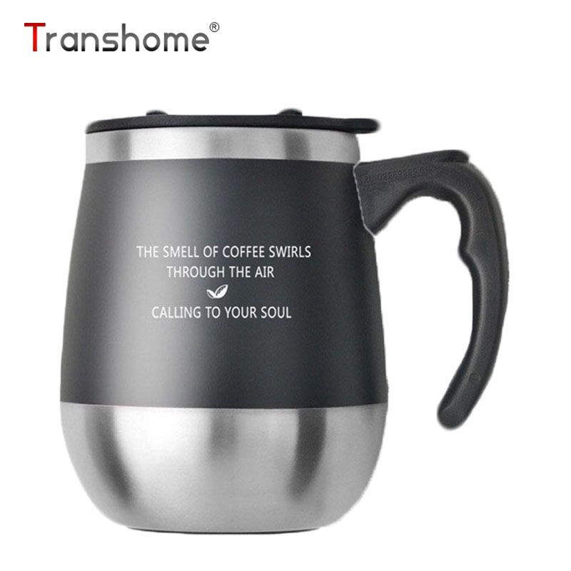 Transhome Big Belly Coffee Mug With Lid Stainless Steel Thermos Thermocup Bottle Cups And Mugs For Office With Cup Brush