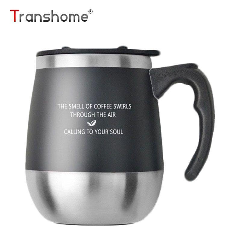 Transhome Gros Ventre Thermos Tasse Café Tasse Avec Couvercle En Acier Inoxydable Thermos tasse Voyage Café Tasses Vide Thermos Avec Brosse