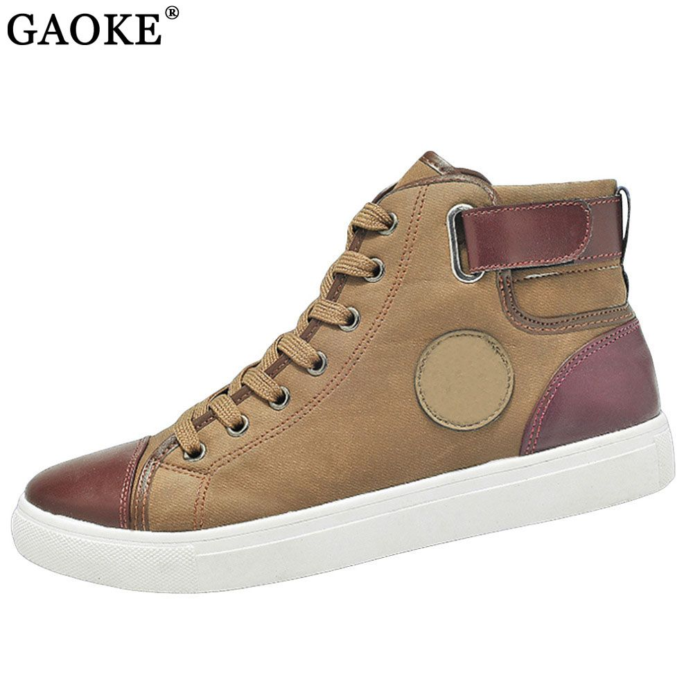 2018 Hommes Chaussures Sapatos Tenis Masculino Mâle Automne Hiver Avant dentelle-Up En Cuir Cheville Bottes Chaussures Homme Casual High Top Toile hommes