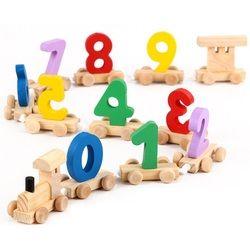 SUKIToy Matematika Kayu Kereta Gambar Model Mainan dengan Bahan Pola Nomor 0 ~ 9 Hadiah Awal Belajar Menghitung untuk Anak-anak 18*8*8.5 cm