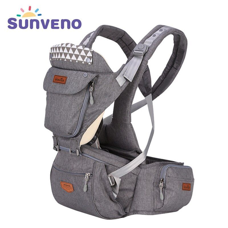 SUNVENO Ergonomic Baby Carrier Infant Baby Hipseat Carrier Front Facing Ergonomic Kangaroo Baby Wrap Sling for Baby Travel 0-36M