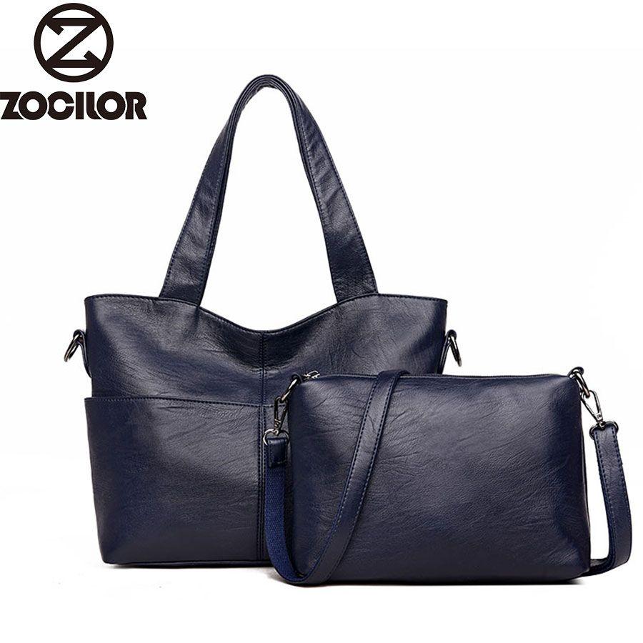 Women Handbag Leather Women Shoulder Bags 2 sets <font><b>Famous</b></font> Brand Designer Women Messenger Bags Ladies Casual Tote Bags sac a main