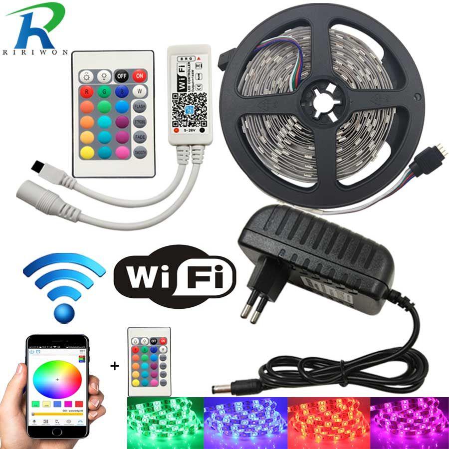 10M WiFI LED bande lumière RGB bande Diode néon ruban tira fita 12V SMD5050 5M Flexible lumière chaîne avec adaptateur de contrôleur WiFI