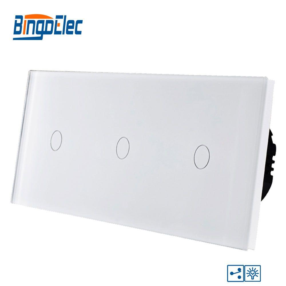Bingoelec Smart Triple 1 Gang 2 Way Dimmer Touch Switch Luxury Glass Panel EU Standard Screen Light Wall Electrical Switch