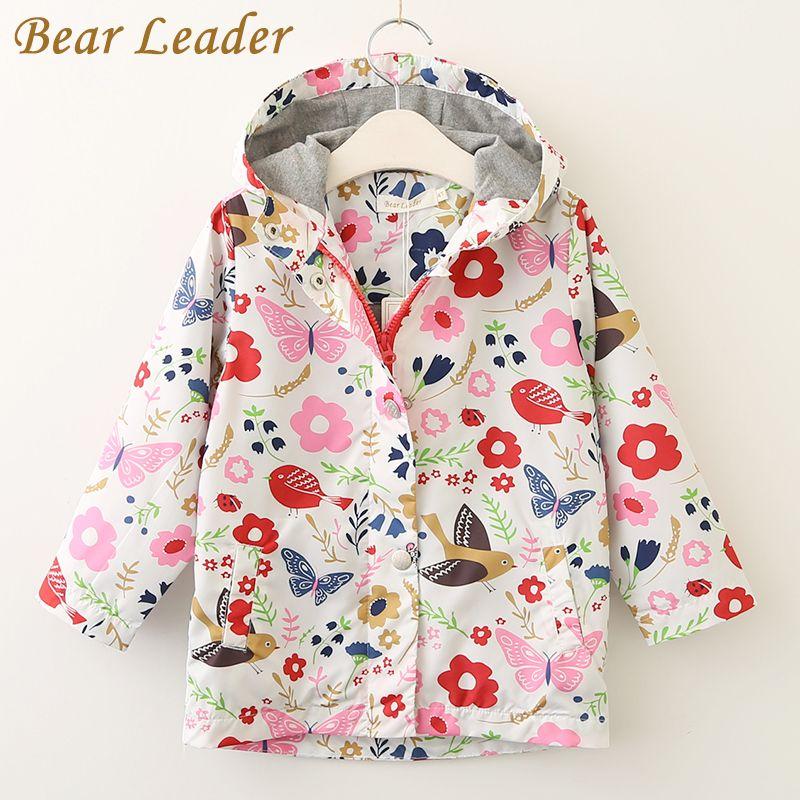 Bear Leader/Пальто и куртки для девочек Дети осень 2017 г. Брендовая детская одежда птица и с цветочным принтом верхняя одежда с капюшоном для 3-7 лет