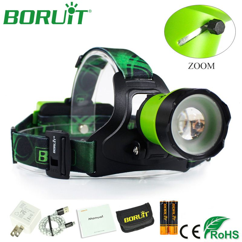 BORUiT B13 Zoomable Flashlight Headlamp XM-L2 1000lm 3 Modes Headlight Waterproof Camping Hunting Head Torch Light Tactical Lamp