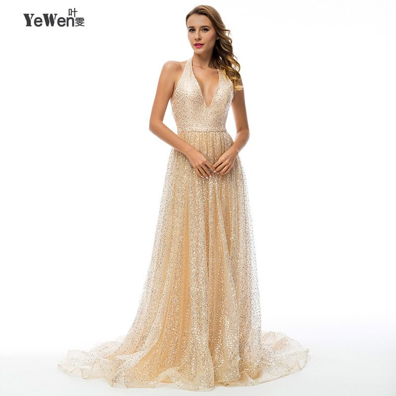 YeWen sexy gold V neck Backless long party evening dresses 2018 sequin robe de mariee longue formal evening dress gown