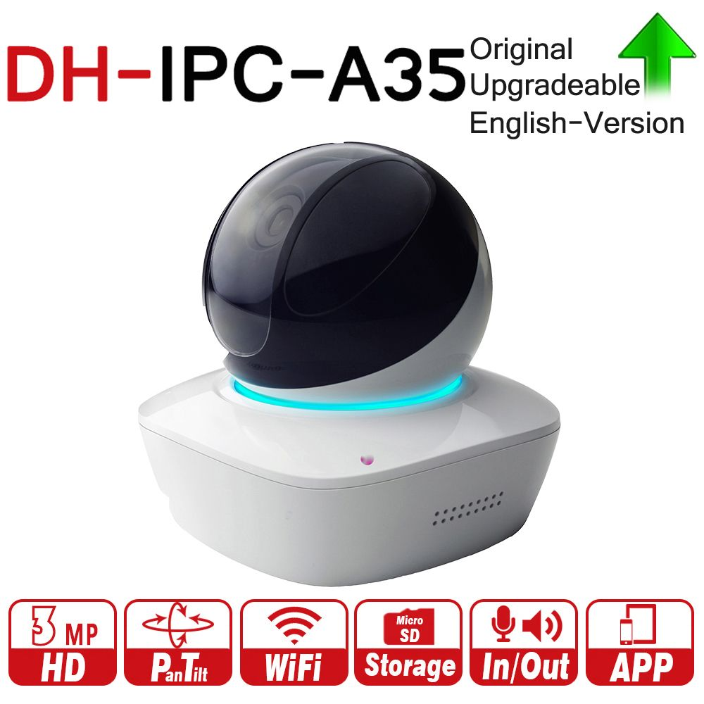 DH IPC-A35 3MP A Series Wi-Fi Network PT Camera 355/90 Degrees Pan/Tilt Two-way Audio Night Vision Memory Card Local Storage