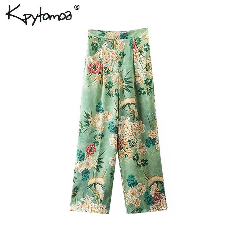 Vintage Chic Floral imprimer large jambe Pantalon femmes 2019 mode haute élastique taille lâche dames cheville Pantalon décontracté Pantalon Mujer