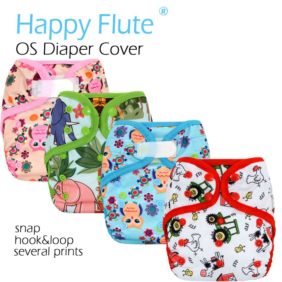 Happy Flute OS baby cloth diaper cover with or without bamboo cotton insert,waterproof breathable S M& L adjustable