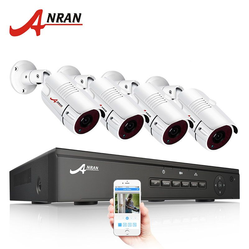 ANRAN 48V POE 4CH NVR CCTV Kit Onvif P2P 1080P HD H.264 Video Surveillance Outdoor Waterproof Security IP Camera System