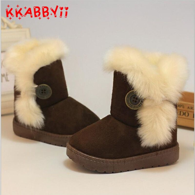 Warm Kids Snow Boots For Children 2017 New Toddler Winter Princess Child Shoes Non-slip Flat Round Toe Girls Baby Lovely Boots