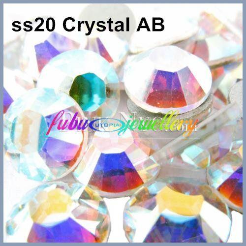 Livraison Gratuite! 1440 pcs/Lot, ss20 (4.8-5.0mm) Cristal AB Dos Plat Nail Art Colle Sur Strass/Non Correctif Cristaux