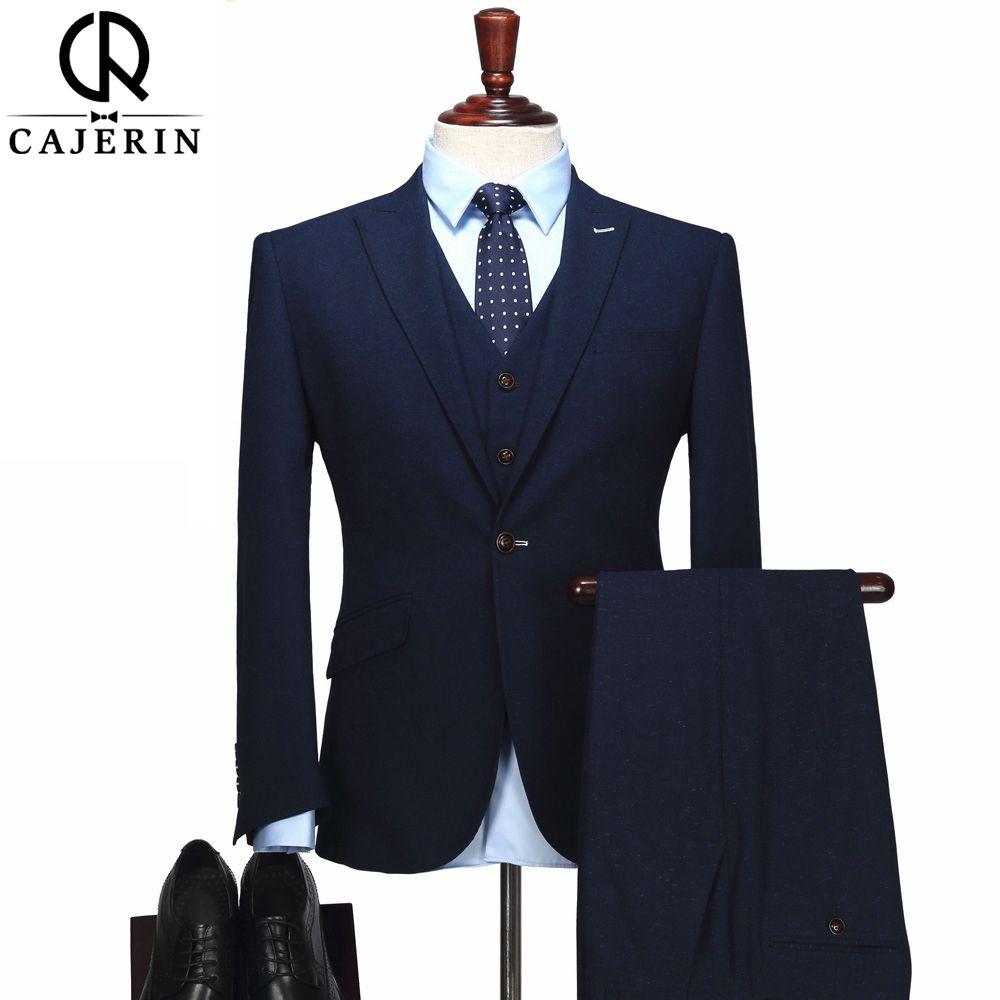 Cajerin полиэстер Для мужчин Костюмы Tailor пиджак синий костюм (куртка + Брюки для девочек + жилет) Slim Fit Свадебные Жених Смокинги для женихов для И...