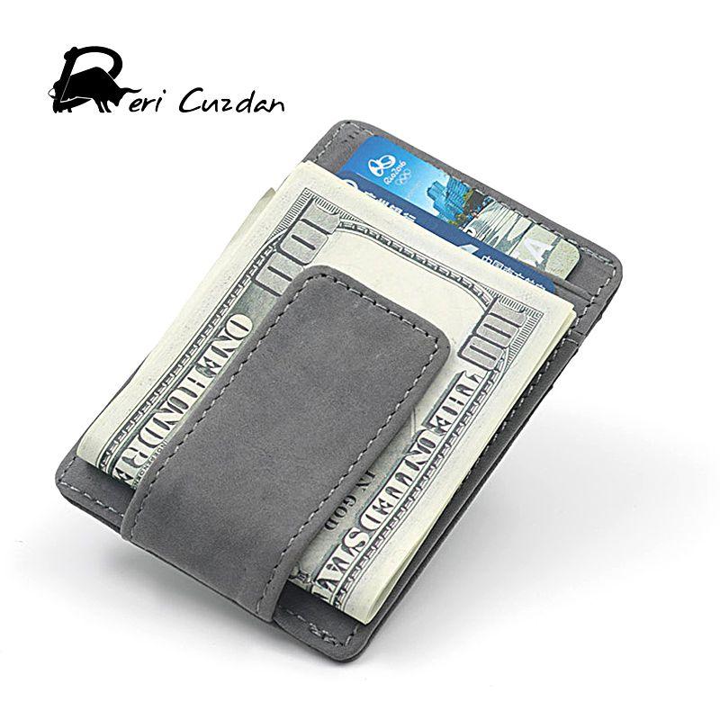 DERI cuzdan Пояса из натуральной кожи мини кошелек зажим для денег клип передний карман Для мужчин бумажник карты портфель Для мужчин Винтаж Cartes