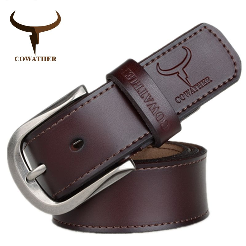 COWATHER 2017 fashion pin buckle cow <font><b>genuine</b></font> leather mens belt for men three colors male vintage jeans cowskin belts good route