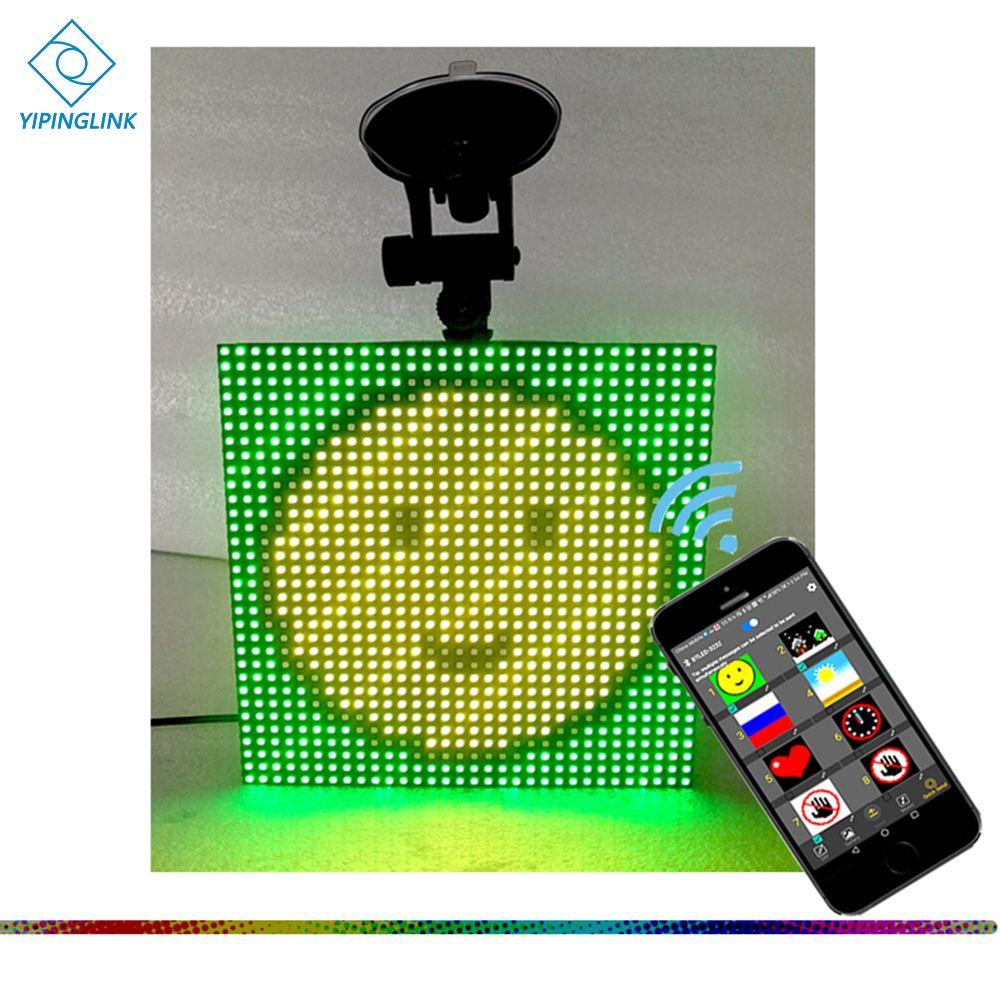 Plein couleur sans fil bluetooth App contrôle écran LED de voiture Emoji smiley visage LED voiture signe LED magasin signe véhicule LED affichage