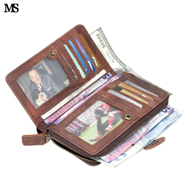 MS High Capacity Men Crazy Horse Genuine Leather Card Wallet Hipster Purse Checkbook Cash Receipt Holder Hasp Coin Wallet Q320