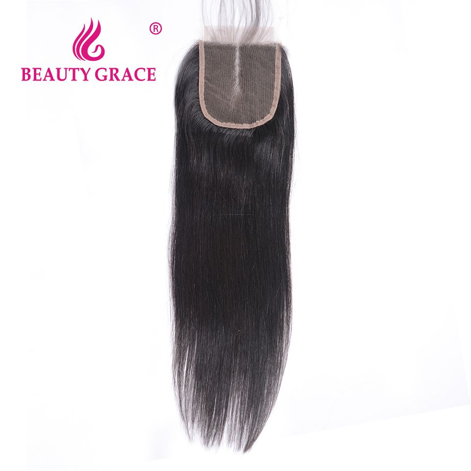 Beauty Grace Brazilian Straight Lace Closure 4x4 Remy 100% Human Hair With Baby Hair Middle Part Top Closures 1 Bundle