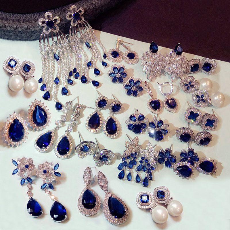 Fashion Vintage Flower Pearl Royal Blue Crystal Stone Long Tassel Earrings Cubic Zirconia women Weddings Hanging Earrings