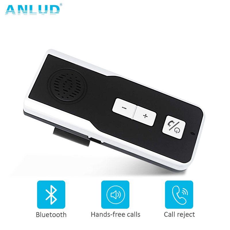ANLUD Bluetooth Handsfree Car Kit Wireless Speakerphone Sun Visor Clip Bluetooth Car Kit Handsfree Speaker Phone for Smartphone