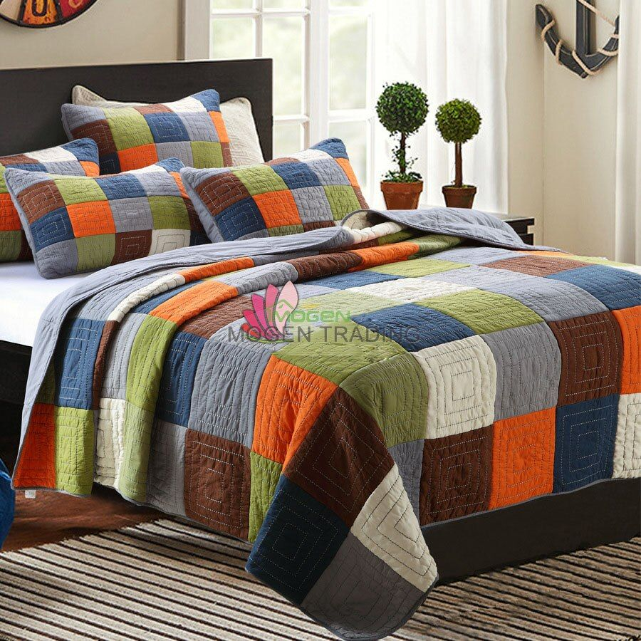 CHAUSUB Handmade Patchwork Quilt Set 3PCS Wash Cotton Aircondition Quilts Bedspread Bedcover Bed Sheets King Size Coverlet Set