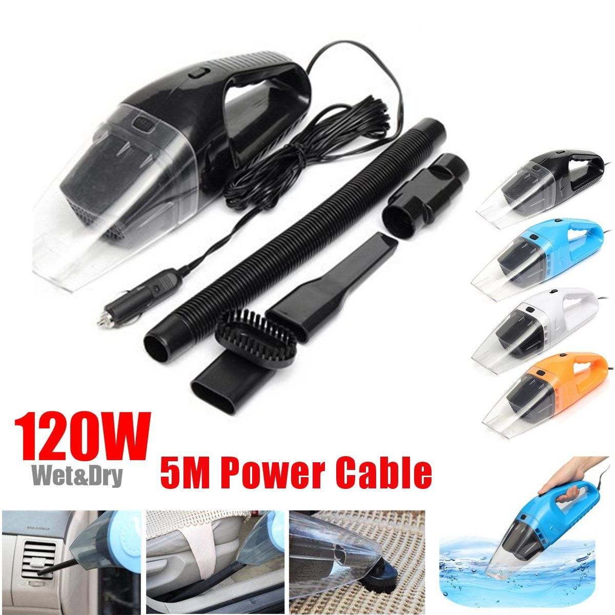 120W Portable Super Suction Handheld Vacuum Dirt Cleaner Wet & Dry Vacuum Cleaner For Vehicle Car Handheld Home Office