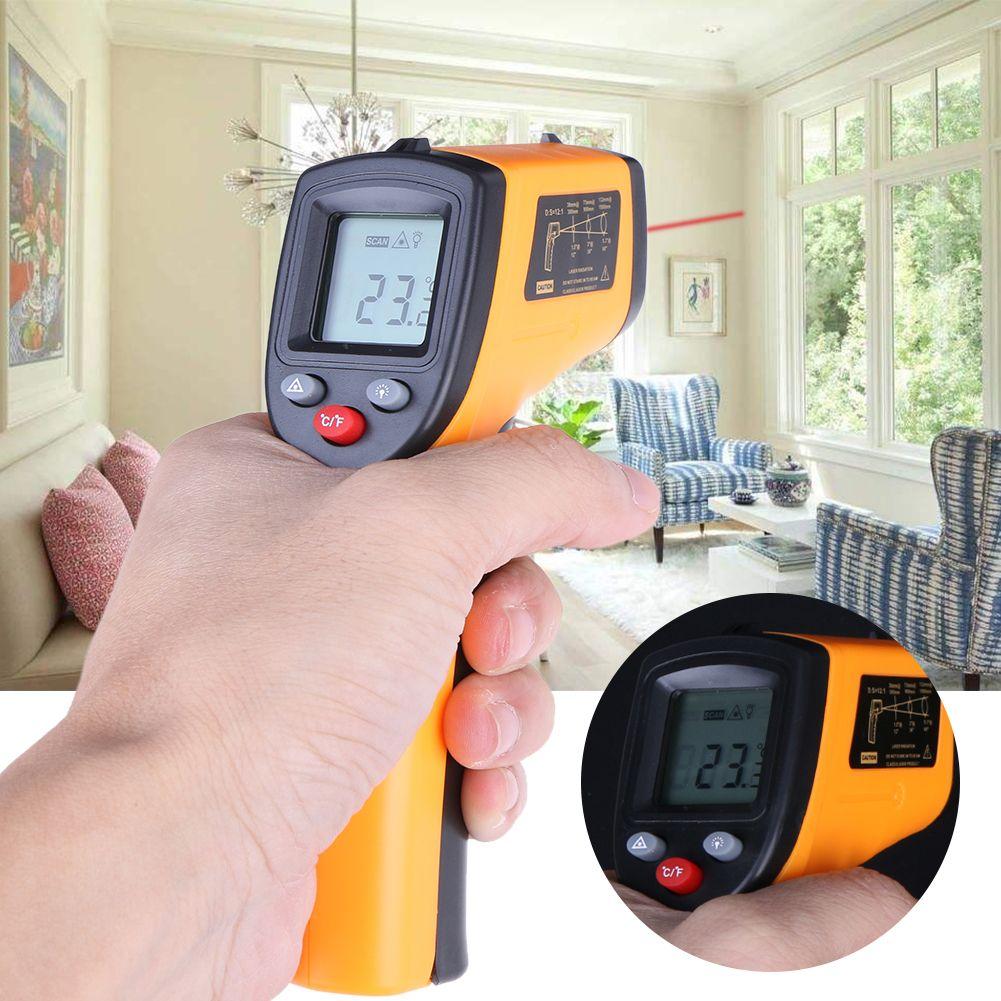 Thermomètre infrarouge numérique GM320 pyromètre sans Contact pistolet à Point Laser IR avec rétro-éclairage-50 ~ 380 degrés pour une utilisation industrielle