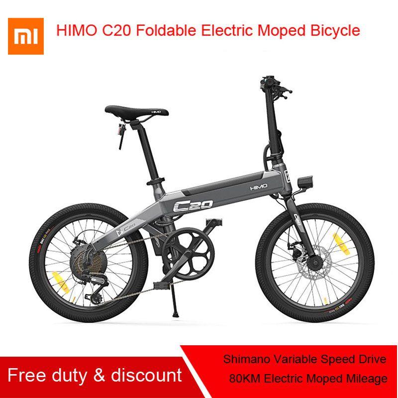 [Kostenloser Duty] Original Xiaomi HIMO C20 Faltbare Elektrische Moped Fahrrad 250 W Motor 25 km/h Versteckte Inflator Pumpe kapazität 100 kg mijia