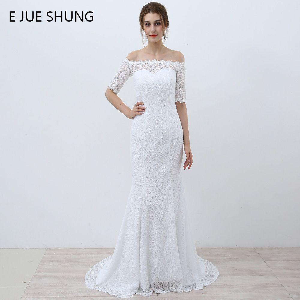 E JUE SHUNG Blanco Vintage de Encaje Barato Sirena Vestidos de Novia Fuera del Hombro Medias Mangas Vestidos de Novia vestidos de novia